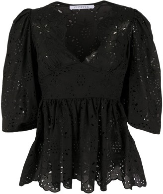 VIVETTA Embroidered 3/4 Sleeves Blouse