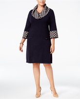 Jessica Howard Plus Size Geo-Contrast Sweater Dress