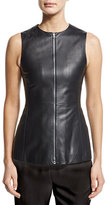 Agnona Zip-Front Leather Peplum Vest, Black