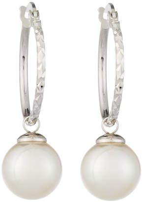 Majorica Hoop Earrings w/ 10mm Pearl Drop, White