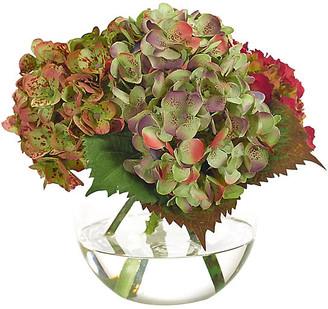 """10"""" Hydrangea in Bubble Vase - Faux - NDI - arrangement, green/fuchsia; vessel, clear"""