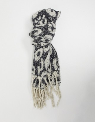 French Connection animal tassel scarf in dark gray and cream