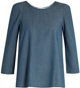 The Great The Darling ruched-shoulder cotton-chambray top