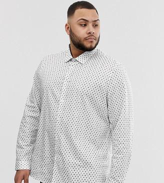 Asos Design DESIGN Plus stretch slim ditsy print work shirt-White