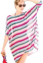 SODIAL(R) Women Bikini Swimwear Cover-Up Beach Dress Oversized Chiffon Bathing Suit stripe