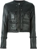 Givenchy braided trim cropped jacket - women - Cotton/Leather/Spandex/Elastane - 38