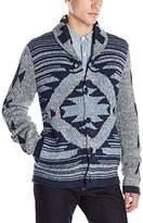 Lucky Brand Men's Ladder Back Jacquard Shawl Seweater
