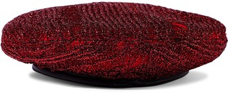 Eugenia Kim Cher Leather-trimmed Metallic Ribbed-knit Beret