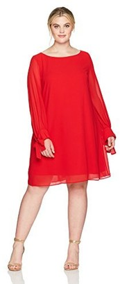 Taylor Dresses Women's Plus Size Crepe and Chiffon A Line Swing Dress