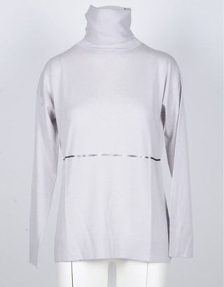 Snobby Sheep Ice Gray Silk and Cashmere Blend Women's Turtleneck Sweater w/Sequins