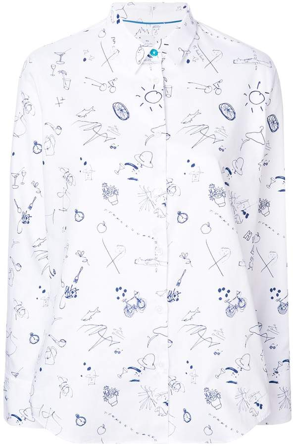 Paul Smith sketchbook conversational printed shirt