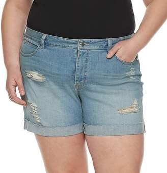 JLO by Jennifer Lopez Plus Size Rocking Cuffed Jean Shorts