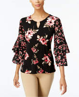 JM Collection Embellished Tiered-Sleeve Top, Created for Macy's