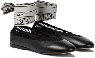 J.W.Anderson Mesh-trimmed leather ballet flats