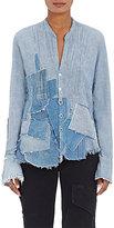 Greg Lauren Women's Waterfall Linen-Cotton Tuxedo Shirt-BLUE