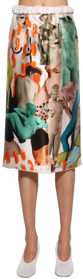 Satin Multi Printed Midi Skirt