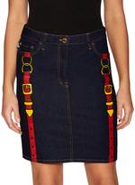 Love Moschino Belt Print Denim Skirt