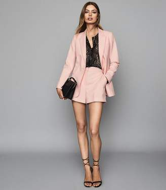 Reiss Beatrix Jacket - Textured Blazer in Soft Pink