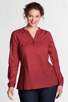 Lands' End Women's Plus Size Ruffled Henley Shirt