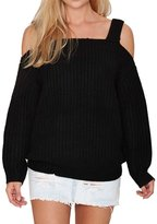 QIYUN.Z Women Winter/Fall Strap Boat Neck Sweater Off-shoulder Sweet Jumper Chandail