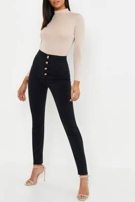 boohoo Tall Horn Button Skinny Jean