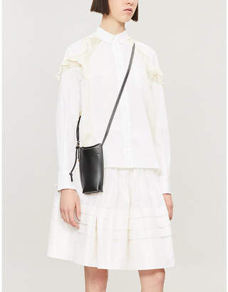 Sacai Ruffled long-sleeved crepe-twill shirt