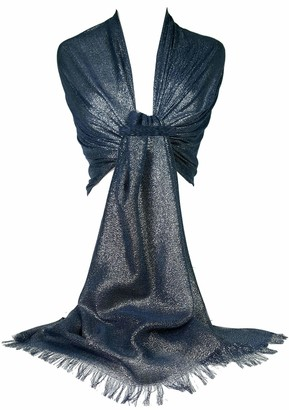 GFM Ladies Sparkly Evening Scarf Wrap Large Silver Stole Shawl -Crepe Effect - (Z18-XK-18-HLBH)