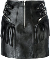 Saint Laurent fringed leather mini skirt - women - Silk/Lamb Skin - 36