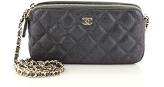 Chanel Double Zip Clutch with Chain Quilted Iridescent Caviar