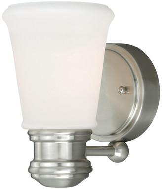 Vaxcel Malie 1 Light Satin Nickel Bathroom Wall Fixture