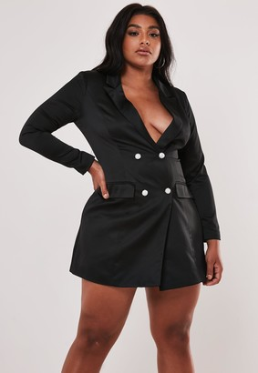 Missguided Plus Size Black Diamante Button Blazer Dress