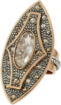 Moritz Glik 18K Rose Gold Blackened Silver Diamond And Sapphire Ring