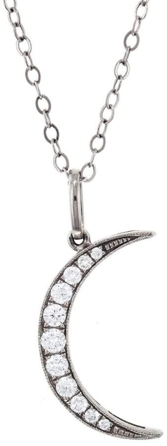 Andrea Fohrman Medium Diamond Crescent Moon Necklace - White Gold