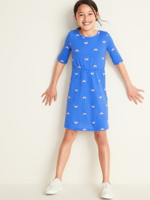 Old Navy Fit & Flare 1/2-Sleeve Jersey Dress for Girls