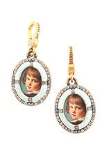 Jay Strongwater Lot 2 Gold Tone Enamel Crystal Picture Pendants