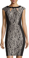 Jax Embellished Lace Sheath Dress, Black/Stone