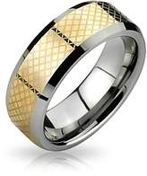 Bling Jewelry Two Tone Basket Weave Beveled Tungsten Band 8mm