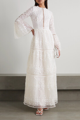 Costarellos Appliqued Embroidered Tulle Gown - White