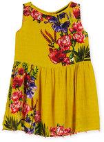 Hemant and Nandita Silk Crepe Bead-Trim Dress, Yellow, Size 8-12
