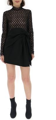 Saint Laurent Embroidered Sheer Side Slit Mini Dress