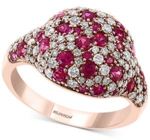 Effy Certified Ruby (1 ct. t.w.) & Diamond (3/4 ct. t.w.) Cluster Ring in 14k Rose Gold