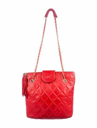 Chanel Vintage CC Lambskin Shoulder Bag gold