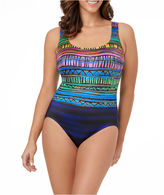 LE COVE LeCove Multi Striped Double X Back Swimsuit