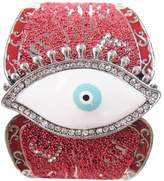 Gifts by Lulee Tibetean Silver EYE of Fatima Cuff Bracelet with Rhinestones with an Intricate Adorned Cuff of Painted Metal Chips Available in Three Colors (Red)
