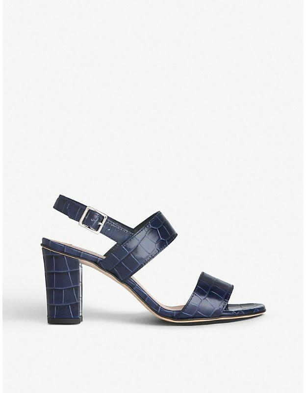 LK Bennett Rhiannon crocodile-embossed leather heeled sandals