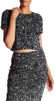 Haute Hippie Mosaic Sequin Cropped Tee