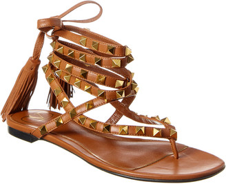 Valentino Rockstud Flair Ankle Wrap Leather Sandal