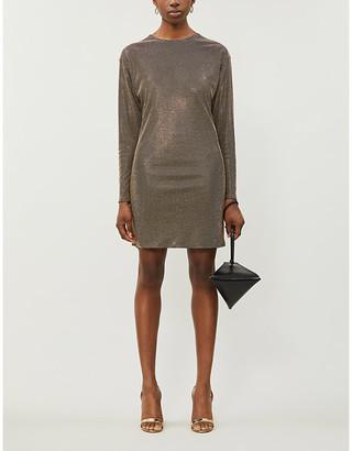 Versace Stud-embellished scoop-neck mini dress