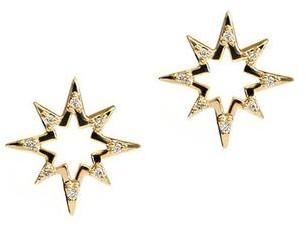 Anzie Aztec Hollow Starburst Studs Gold