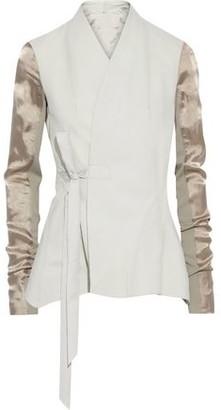 Rick Owens Satin And Knit-paneled Leather Wrap Jacket